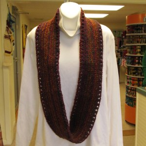Marbius handknit Cowl worn long over a white blouse